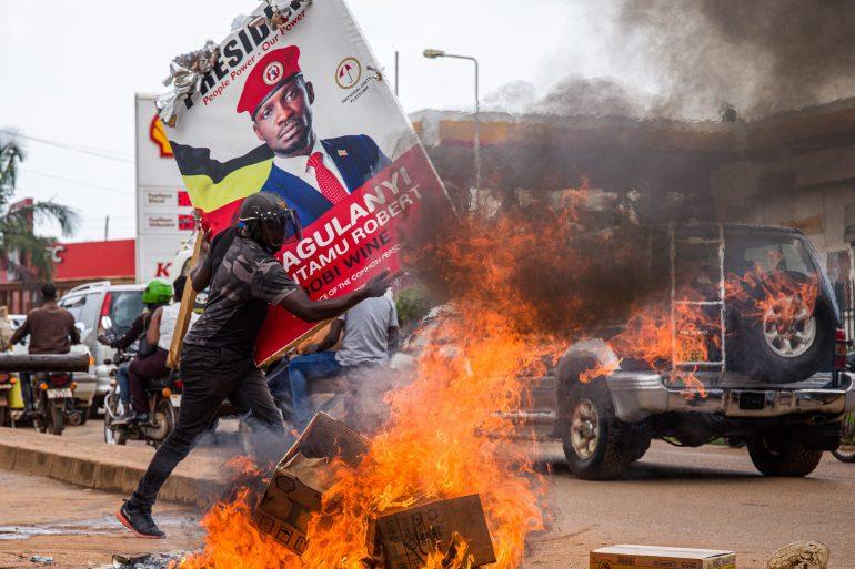 Ugandans protests after bobi wine being arrested